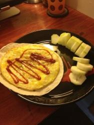 B: Tortilla, omlete with cucumber