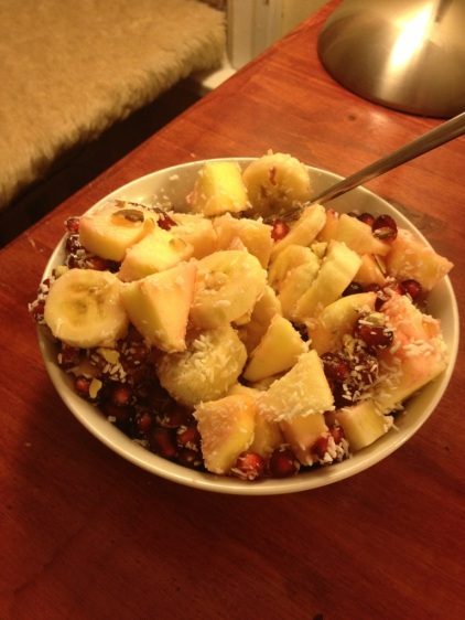 D:banana, apple, pommegranate, almonds, coconut, lime juice