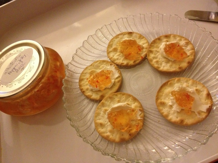 S: Crackers, cream cheese and pepper jelly