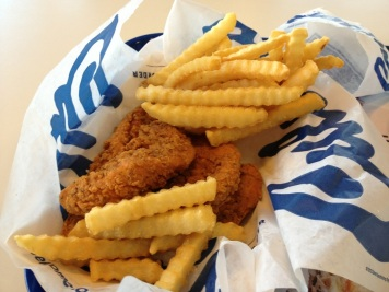 "Culvers Buffalo chicken strips and fries - a rare ""treat"""