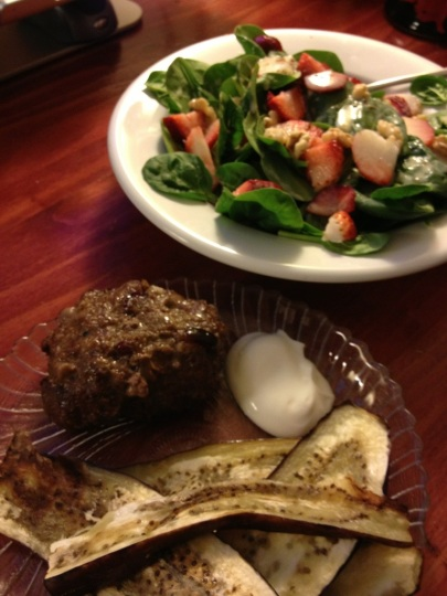 Burger, eggplant and spinach, strawberries, walnuts, and homemade dressing