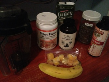 Here is what went into the shake, not pictured 1/2 avocado