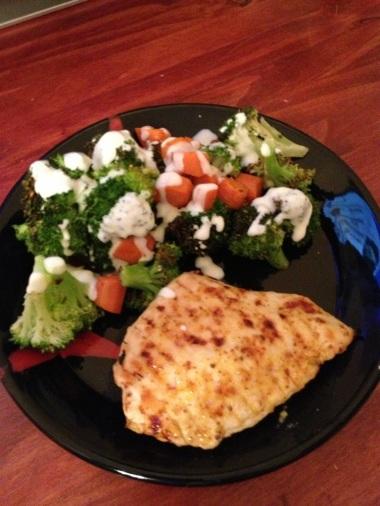 Broccoli, carrots and honey-mustard chicken breast