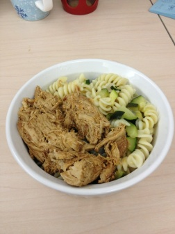 Pasta salad and BBQ chicken