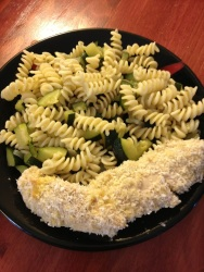 Pasta salad with coconut chicken