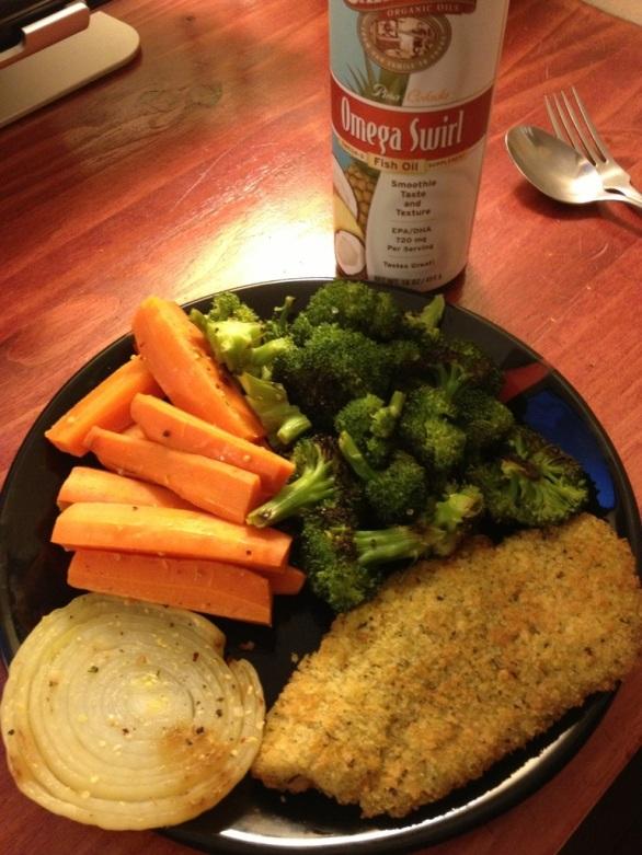 Tilapia, carrots, broccoli, onion
