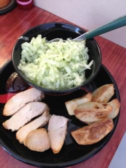 chicken, potato and cucumber salad