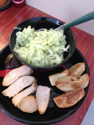 chicken, potato and cucumber salad