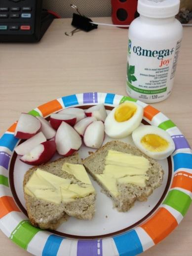 gf bread, egg, radishes