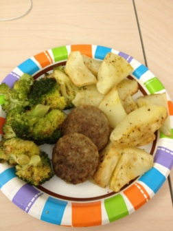 broccoli, potatoes and 2 breakfast patties
