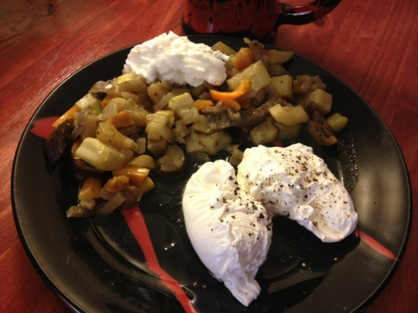 veggies, yogurt and poached eggs