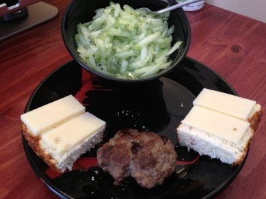 protien bread, cheese, burger, and cucumber salad