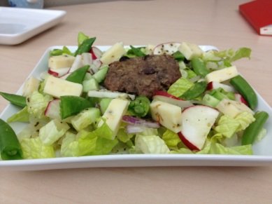 Lunch: salad and a mini burger